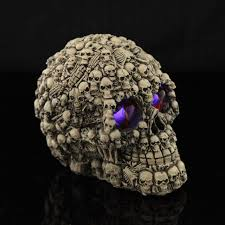 Scary Halloween Props For Haunted House by New Creepy Lighted Human Skull Red Eyes Scary Halloween Party