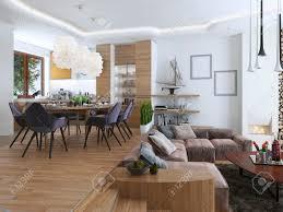 studio wohnung mit wohnzimmer und esszimmer in einem modernen stil großes sofa mit designer kaffee niedrigen tisch und dekoration auf den regalen