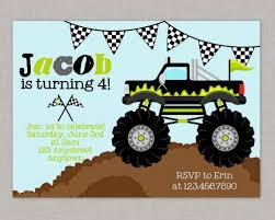 100 Truck Birthday Invitations Monster Truck Birthday Invitations Monster