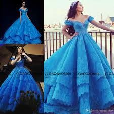 cinderella in michael cinco blue lace puffy ball gown prom dresses