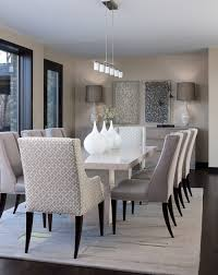Photo By Ashley Campbell Interior Design A Modern Marble Table Is Paired With More Relaxed Upholstered Dining Chairs