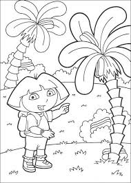 Surprised Dora The Explorer With Palm Trees Coloring Page