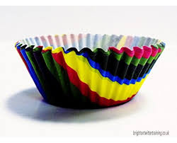 PME Rainbow Stripes Paper Baking Cases For Cupcakes Standard Size Pack Of 60