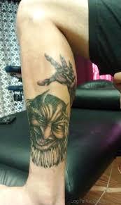 Great Evil Tattoo On Leg