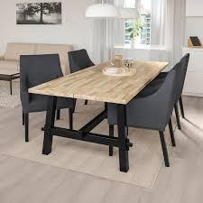 skogsta sakarias tisch und 4 stühle akazie schwarz sporda dunkelgrau 235x100 cm