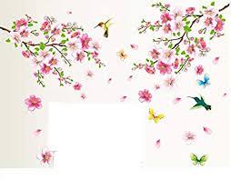 hallobo wandtattoo pfirsichblüte blumen vogel schmetterling wandaufkleber wandsticker wall sticker wohnzimmer schlafzimmer deko