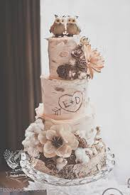 Rustic Birch Wedding Cake With Little Owl Topper Deer Pearl