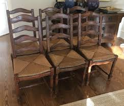 Six French Country Ladder Back Dining Chairs - Dec 16, 2018 ... Guy Chaddock Melrose Custom Handmade Fniture Cf0485s Country French Ding Chairs With Ladder Back And Rush Seats Antique Farm Carved Tall Seat Room Set Of 6 Provincial In Walnut 10 Louis Xv Style Oak Leather Nailhead Recliner Chair Vintage White Of Four Six Xiv Ladderback Scalloped Stretchers Inspire Q Eleanor Wood 2 By Dec 16 2018