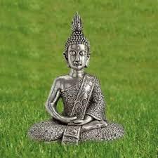 buddha figur sitzend aus magnesia in silber höhe 56cm buddha