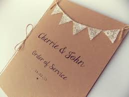 Order Of Service Booklets With Insert Pages Country Cottage Bunting Rustic Wedding Programme Program Menu Cards 2649608