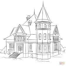 House Coloring Pages Victorian Page Free Printable Drawing