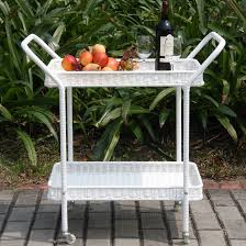White Wicker Patio Serving Cart
