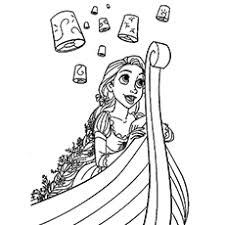 Beautiful Rapunzel Under Lit Up Sky With Her Queen Mother Coloring Pages