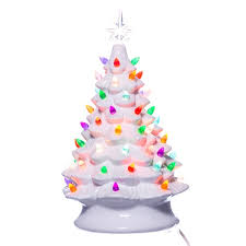 White Ceramic Christmas Tree W Lights