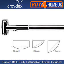 Telescopic Curtain Rods Uk by Croydex Shower Curtain Rail Ebay