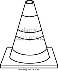 silhouette striped traffic cone flat icon Stock Image