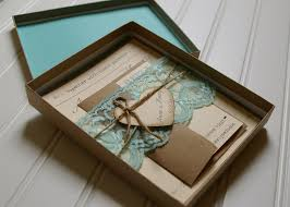 Sweet Brown Unique Rustic Wedding Invitations Box Combined With Lovely Blue Lace And Envelope Beautify The Ideas