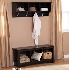 Espresso Wood Freestanding Entry Bench With Cubbies And Floating Coat Rack