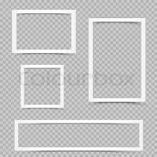 White Art Frames With Shadow On Transparent Background Modern Border Shape Photo Interior Furniture Framework Portfolio Template Graphic