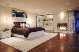 Modern Bedroom Floor Using Shag Rug 8x10 Design Combine With Recessed Lighting Plus Wooden Bookshelves