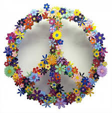 Handmade Wall Decorations And Gift Ideas Peace Symbol Made Of Colorful Flower Designs