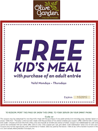 Olive Garden Printable Coupon Free Kids Meal with Adult En