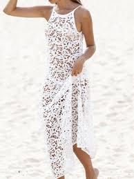 white spaghetti strap deep v back sleeveless lace crochet maxi