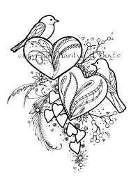 COLORING BOOK Of FIVE Pages On 140 Lb Watercolor Paper Birds And Hearts Hummingbird Mouse Butterflies Tiger Original Art