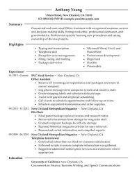 Resume Office Work Profile Examples Of Resumes For Jobs Administrator