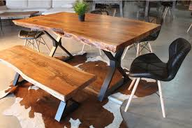 Acacia Live Edge Dining Table With Black X Shaped Legs Natural Color