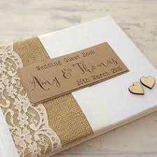 Hessian Lace Personalised Wedding Guest Book Rustic Wooden Hearts Handmade