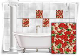 fliesen aufkleber fliesen bild kachel blumen blüten rot grün bad wc deko küche