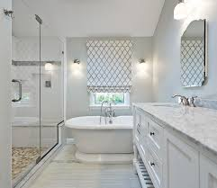 shower with gray mosaic border tiles transitional bathroom
