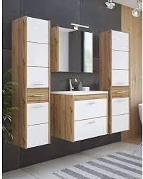 lomadox badezimmer waschplatz set in hochglanz weiß mit