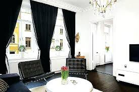 Black Living Room Curtains White