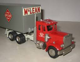 3 Of 5 ASAM BOX TRAILER Sets. McLEAN TRUCKING CO. With PETERBILT Red ...