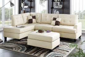Poundex Reversible Sectional Sofa by Beige Leather Sectional Sofa And Ottoman Steal A Sofa Furniture