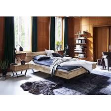 industrial design bett eiche rustikal timber massivholz stahlfüße modern sleep