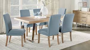 Rustic Charm Oak Wood Dining Table And Blue