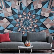 vlies fototapete ornament modern grau blau tapete wanbilder