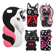 Cartoon Case For iPhone 5S Silicone 3D Lips Unicorn Cat Stitch