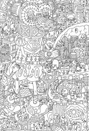 An Intricate Coloring Page For Adults Featuring Aliens
