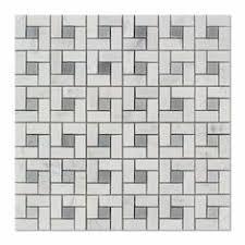12 in x 12 in carrara pinwheel marble mosaic