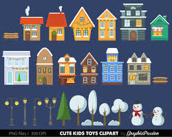Christmas Houses Clip Art Set houses clipart cute houses neighborhood trees church bakery buildings school instant