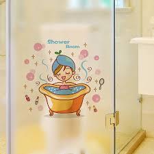 hübsches mädchen bade wandtattoo baby dusche wandaufkleber duschbad badezimmer dekor zubehör für kinder babys fliesen glas decor