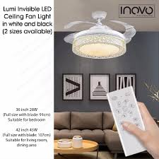 42 Ceiling Fan Room Size by Inovo Lumi Invisible Ceiling Fan With Led Light For Living Dining