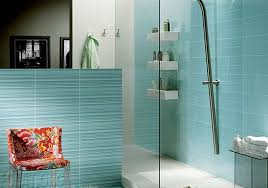 creative bathroom tile design ideas with blue color and shower