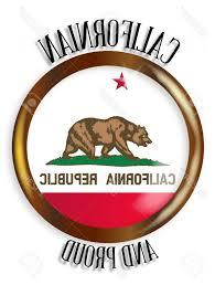 California Republic Flag Vector Photostock State Button With A Gold Metal Circular