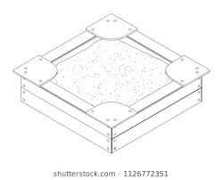 Black And White Isometric Vector Outline Drawing Of A Wooden Childrens Sandbox With Bumps Sitting