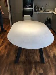 Fully Extended Moon Round Ceramic Dining Table 120cm And Extends To 180cm